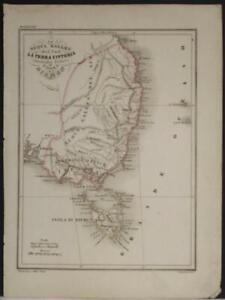 NEW SOUTH WALES & TASMANIA AUSTRALIA 1850 MARMOCCHI ANTIQUE LITHOGRAPHIC MAP