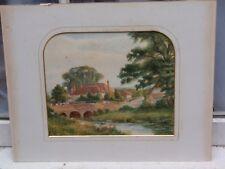 Antico e un ponte Holroyd ORIGINALE Villaggio sceine Acquerello Pittura su carta
