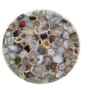 "24"" Round Agate Table Top Natural stones pietradura Handmade Work Decor"
