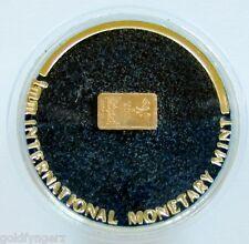 22K Solid Gold..Miniature Gold Ingot, From The International Monetary Mint.