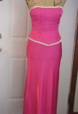 Misses Dress SZ 5-6 Faviana Prom Wedding Formal Strapless Cerise Rhinestones