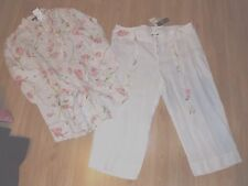 Island Republic pants/capri suit beach white and floral size L 100% Linen NWT