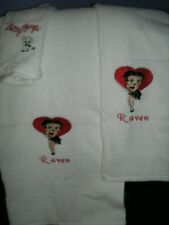 Betty Boop Heart Personalized 3 Piece Bath Towel Set  Your Color Choice