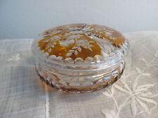 Czech Bohemian Amber Cut To Clear Glass Vanity Powder Jewelry Covered Jar