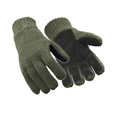 RefrigiWear Fleece Lined Thinsulate Insulated Ragg Wool Gloves with Leather Palm