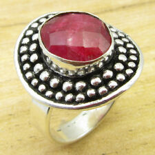 7.75 ! Silver Plated Metal Jewelry New Red Simulated Ruby Retro Style Ring Size
