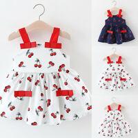 Toddler Kid Baby Girl Sleeveless Cherry Printed Party Princess Dress Clothing FR