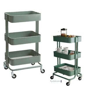 "IKEA RÅSKOG Utility cart, Gray/Green,13 3/4x17 3/4x30 3/4 "" Steel IN BOX NEW"