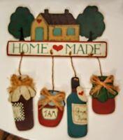 "Wood Sign 11"" Honey Jam Dangle Ornaments Home Made Primitive Decor Wall Plaque"