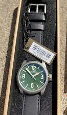 New Men's Filson Hunter Green Field Watch Leather Strap $350 Water Resistant NIB