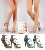 Bamboo Women's Strappy Metallic Dress Sandal Heels #Harleen-61