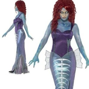 Zombie Mermaid Costume Adult Womens Ladies Halloween Fancy Dress New
