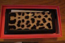 """Diane von Furstenberg """"Voyage"""" Leather Zip-Around Wallet �?Leopard - NIB - $195"""