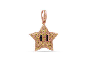 Simulated Citrine Puff Dome Mini Star Pendant 14K Solid Rose Gold