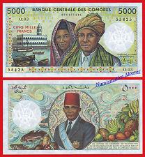 COMORES COMOROS 5000 Francs francos 1984-2005 Pick 12a   SC  /  UNC