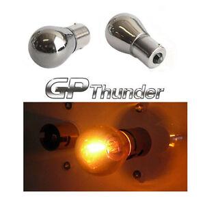 BAU15S PY21W 7507 1056 5007 OFF SET Chrome Silver Light Bulbs Amber 2pcs