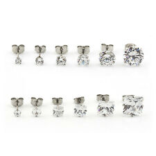 Square & Round Surgical Steel CZ CLEAR CRYSTAL EAR STUDS Earrings 3mm-10mm 2pcs