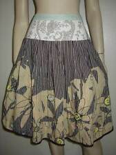 CABI Embroidered Striped Dots Brown Yellow Floral Pleated Skirt Size 6