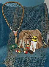 FABULOUS ANTIQUE VTG FISHING EQUIPMENT LOT! CREEL, NET, BOBBERS, FISH, DISPLAY 4