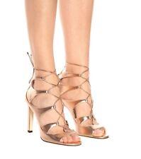 def4b433b900 New Jimmy Choo Blake Rose Gold Metallic Leather Lace-Up Sandal Women 37.5 7