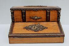 Schreibschatulle mit Turteltauben + Musikinstrumenten , Frankreich, um 1870