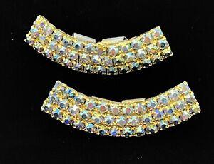 Vintage Musi AB Rhinestone Shoe Clips Gold Tone Art Deco Bridal