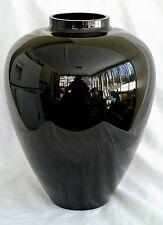 "Huge Signed Barovier &Toso Murano Roman/Grecian Jet Black Glass Art Urn Vase-13"""