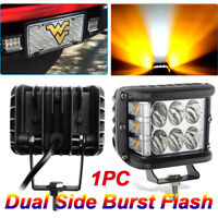 "4"" LED Work Light Bar Cube Side Shooter Pod White & Amber Strobe Lamp SUV Truck"