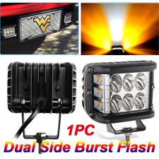 """4"""" LED Work Light Bar Cube Side Shooter Pod White & Amber Strobe Lamp SUV Truck"""