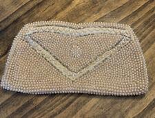 Vintage LA REGALE Ivory Clutch Handbag Purse Beaded Evening Bag Wedding Cocktail
