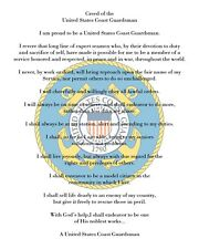 "US Coast Guard Creed 8"" x 10"" Printed Fabric Quilting Block  Applique Fabric"