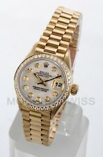 Rolex Ladies President 18K Yellow Gold MOP Diamond Dial & Bezel Quickset 2 Year