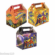 10 Superhero Party Lunch Boxes Cardboard Food Bags Childrens Gift Loot Bags