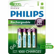 4 x Philips AAA 700 mAh Rechargeable Batteries NiMH HR03 LR03 ACCU phone