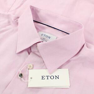 Eton NWT Cotton Dress Shirt Size XL 44 17.5 Slim in Light Reddish Pink and White