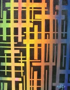 Modernist ABSTRACT PAINTING Expressionist MODERN ART GRIDS OF TIME FOLTZ