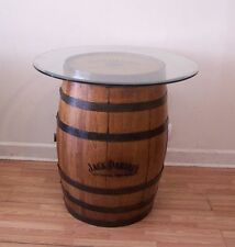 """Authentic Branded- Engraved-Sanded-Finished Whiskey Barrel c/36"""" Glass Top-"""