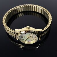 Timex Watch Womens Gold Tone Stretch Bracelet Indiglo Mother of Pearl Face
