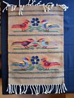 Southwest hand-woven rug with BIRDS; wall, Folk Art Oaxaca-Teotitlan dyed yarn