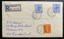 1955 Birmingham England Registered Cover To tynemouth Industries Fair Cancel