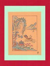 Dessin encre de chine & aquarelle Japon Hand made china ink signé Geneviève n9
