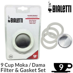 Bialetti 9 Cup Filter & Gasket Set | Moka Dama Espresso Coffee Maker Replacement