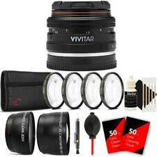 Vivitar 50mm f/2.0 Lens with Filter Accessory Bundle for Sony E-Mount Cameras