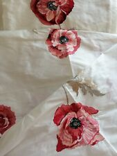 LAURA ASHLEY  SILK EMBROIDERED CRANBERRY FRESHFORD FABRIC METRES