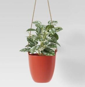 New Faux Hanging Green Leafy Plant Red Pot - Lot of 2