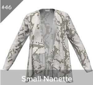 Lularoe Gray Cream Snake Skin Nanette Soft Hacci Sweater Overlay Small Cardigan