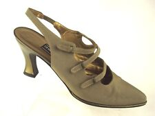 Stuart Weitzman Light Gray Fabric Pointed Toe Back Strap Pumps Size 6 W Spain