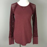 Lucky Brand Burgundy Thermal Knit Top Sz S Crochet Lace Sleeves Raglan Maroon