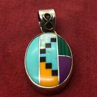 Vintage Sterling Silver Necklace 925 Pendant Faux Turquoise Opal Southwest
