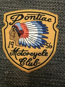 "Pontiac Motorcycle Club 1956 Embroidered Iron On Patch 4.5"" X 3.5"" biker patch"